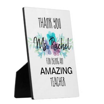 Custom Floral Teacher Thank you Easel Plaque