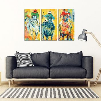 Colorful Wall Art Framed Canvas Print Horse Race Abstract
