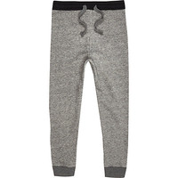 River Island Boys grey quilted panel joggers