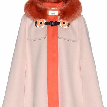 Fur-trimmed wool cape