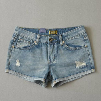 Stretch Summer Rinsed Denim Ripped Holes Slim Denim Shorts [6328871425]