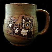 Owls Coffee Tea Mug Cup 12oz Pottery Green Brown Grooved Vintage  k103