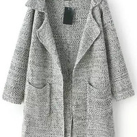 Grey Notched Collar Long Sleeve Pockets Knit Cardigan