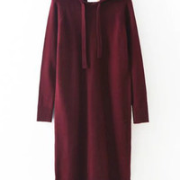 Long Sleeve Split Side Hoodie Knitdress