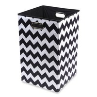 Modern Littles Bold Folding Laundry Bin in Chevron Black