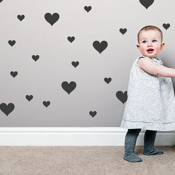 Hearts Wall Decal / 2 size Hearts Decal / 4inch big Hearts / Kids wall decoration /  baby room decal / gift