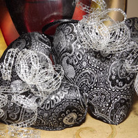 Black Silver Brocade Heart Christmas Ornaments Set 2 Uptown Chic