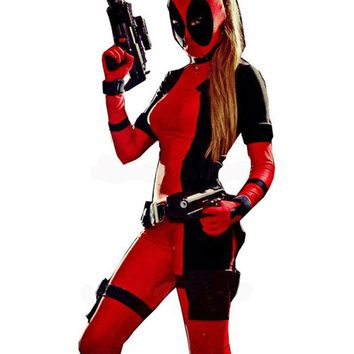 LMFUS4 2016 Freeshipping Lady Deadpool Black and Red Spandex Bodysuit with Ponytail Hole halloween costumes for women open eyes