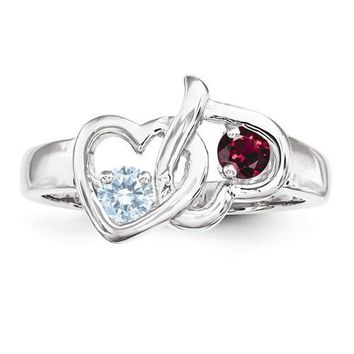 Personalized 2 Stone Birthstone Heart Mother's or Couples Ring