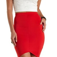 Curved Hem Bodycon Pencil Skirt by Charlotte Russe - Red
