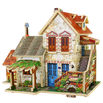 Diy Wood Assembling Toys Diy Wooden Model Of Three-dimensional 3D Puzzle Educational Toys for Children Castle Model
