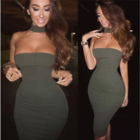 New Sexy Womens Bodycon Bandage Dress New Design Halter Package Hip Dress Choker Neck Bandeau Cut Out Back Evening Club  Dress