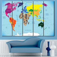 World map, all countries Card, colored country, print map, canvas card, world map on canvas, country map, card printing, Home & Office Decor