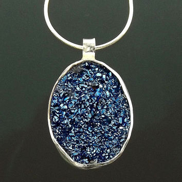 Blue Sparkling Druzy Necklaces, Druze Jewelry, Drusy Crystal Stone, Cyrstal Jewelry Necklace