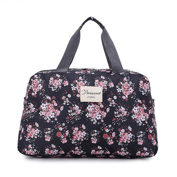 Women Travel Bags Handbags 2017 New Fashion Portable Luggage Bag Floral Print Duffel Bags Waterproof Weekend Duffle Bag
