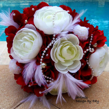 Peony Wedding Bouquet- Hydrangea, Peony, Pearl, Feather- Brooch Bridal Bouquet- Ready to Ship