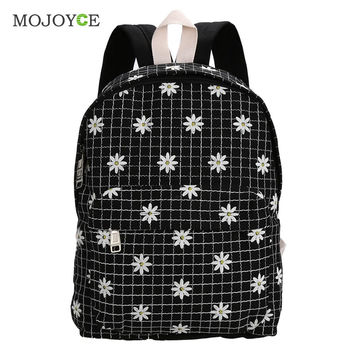 Cute Backpack Women School Bags for Teenagers Mochila Feminina Foral Embroider Canvas Backpack Preppy Style Mochila Bagpack SN9