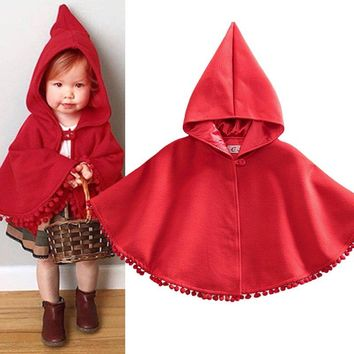 Cute Toddler Baby Kids Red Warm Hooded Cape Cloak Poncho Hoodie Jacket Outwear Coat
