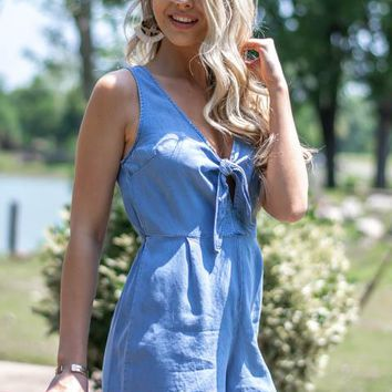 Weekend Keyhole Knot Tie Denim Romper