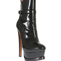 AZZEDINE ALAÏA BLACK GLAZED LEATHER BOOTIES