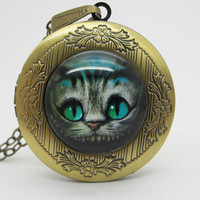 Vintage Glass  Locket Necklace / Cat  Locket Necklace /  Cat Jewelry