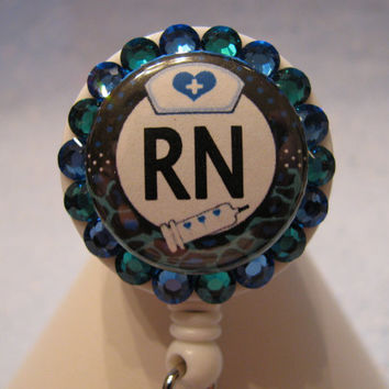 RN Nurse Swarovski Crystal Bling ID Badge Holder Retractable Reel Customizable ID Name Tag Holder
