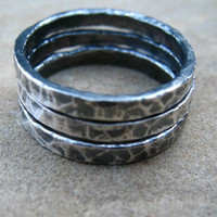 Fine Silver Stack Rings, Size 6 1/2 , Set of Three, Rustic Rings