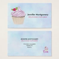 Delicious Pink Cupcake Berry on Top Business Card