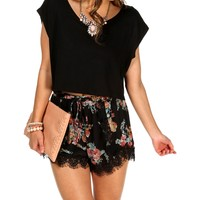 Sale-black Cap Dolman Crop