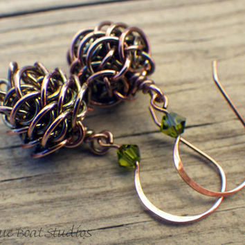 Copper chainmaille pine cone earrings with custom crystal ear wires
