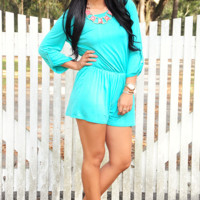 All Figured Out Romper: Turquoise