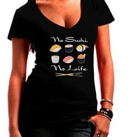 No Sushi No Life Juniors Petite V-Neck Dark T-Shirt