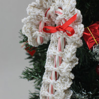 Sparkly White Candy Cane tree ornament -Crochet candy cane - Holiday decoration- Christmas decor
