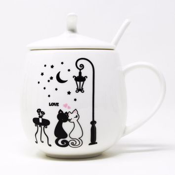 KEYTREND Ceramic Bone China Coffee Cat Mugs - Lover Cartoon Pattern with Spoon and Lid