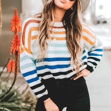 Fashion Multicolor Stripe Women Pullover Casual High Street Loose Long Sleeves Sweater Female Jumpers