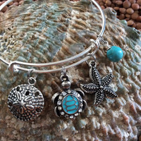 Crystal Turquoise Silver Turtle Starfish Sand Dollar Expandable Nautical Bracelet Silver Adjustable Wire Bangle Gift Ocean Jewelry