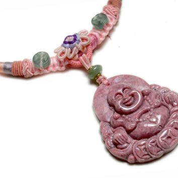 Life in Joy, Gorgeous Fortune Happy Buddha Carved Rose Rhodonite Amulet Necklace - Fortune Lady Jewelry