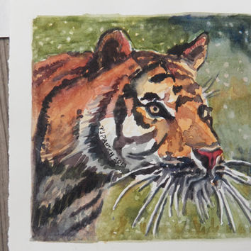 Original Watercolor Painting, Zoo Animal, Tiger Painting, Small Watercolor Painting, Animal Art, Africa Art, Wildlife Painting