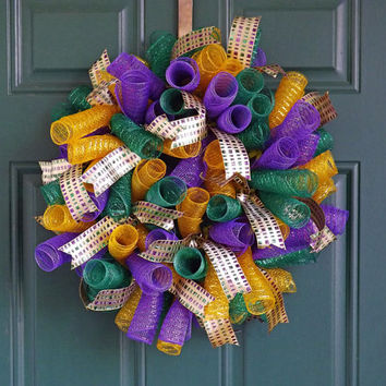 Mardi Gras Purple Green and Gold Spiral Deco Mesh Wreath