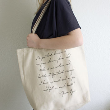 Jane Eyre Quote Tote Bag - Charlotte Bronte Quote - Gift Ideas for book lovers