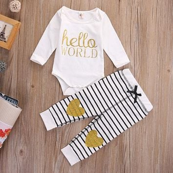 Newborn Baby Girls Clothing Set Hello World Tops Bodysuits + Long Pants 2Pcs Baby Girl Outfits Set Clothes