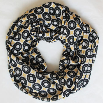 yellow polka infinity scarf, scarf, scarves, long scarf, loop scarf, gift