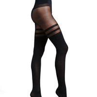Women's Halo Sheer/Opaque Tights - Commando - Black
