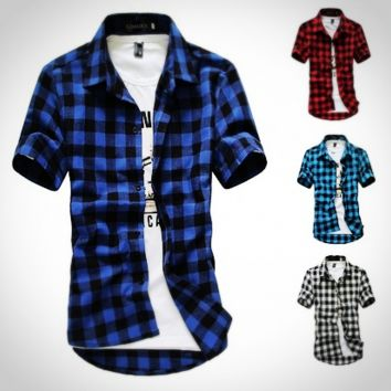 Summer Men's Classic Fashion Grid Short Sleeve Shirt [10312514243]