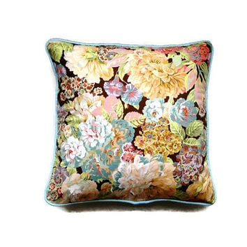 "Sanderson ""Rose and Peony"" pink, pale blue, green and lemon floral print cotton cushion cover, throw pillow, home decor 18 x 18 ins"