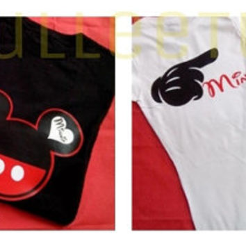 His And Hers Mickey/Minnie Inspired Couples 2 Sided TShirts Mine Mickey and Minnie Couple Shirt