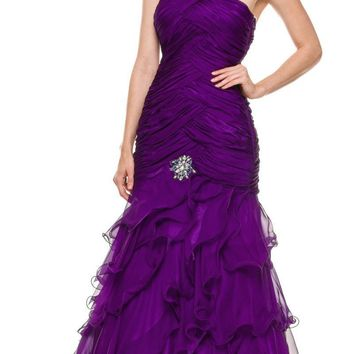 Single Strap Purple Formal Gown Full Length Chiffon Layers Ruched