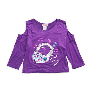 Miss Popular Girls 7-16 Plaid Headphones Top