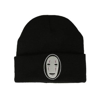 Hayao Miyazaki Anime Spirited Away No Face Beanies Knitted Hats Cartoon character Embroidered hat Ski Cap B23F1