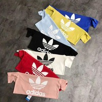 MDIGJ1A Adidas Originals Trefoil Women Men Summer Round Collar T-Shirt Pullover Top High Quality I